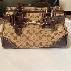 COACH Hampton Signature Brown Satchel Handbag 👜